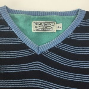 Vintage Polo V-Neck sweater. XL, elbow pads